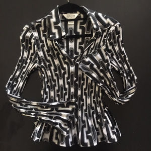Allison Taylor black and white print blouse